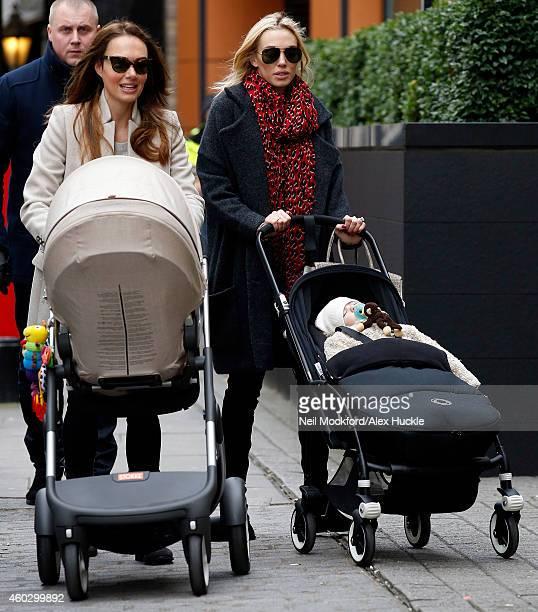 Tamara Ecclestone and Petra Stunt seen arriving at a restaurant in Knightsbridge on December 11 2014 in London England
