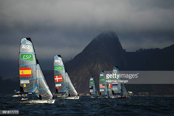 Tamara Echegoyen Dominguez of Spain and Berta Betanzos Moro of Spain take the start of the Women's 49er FX class medal race at the Marina da Gloria...