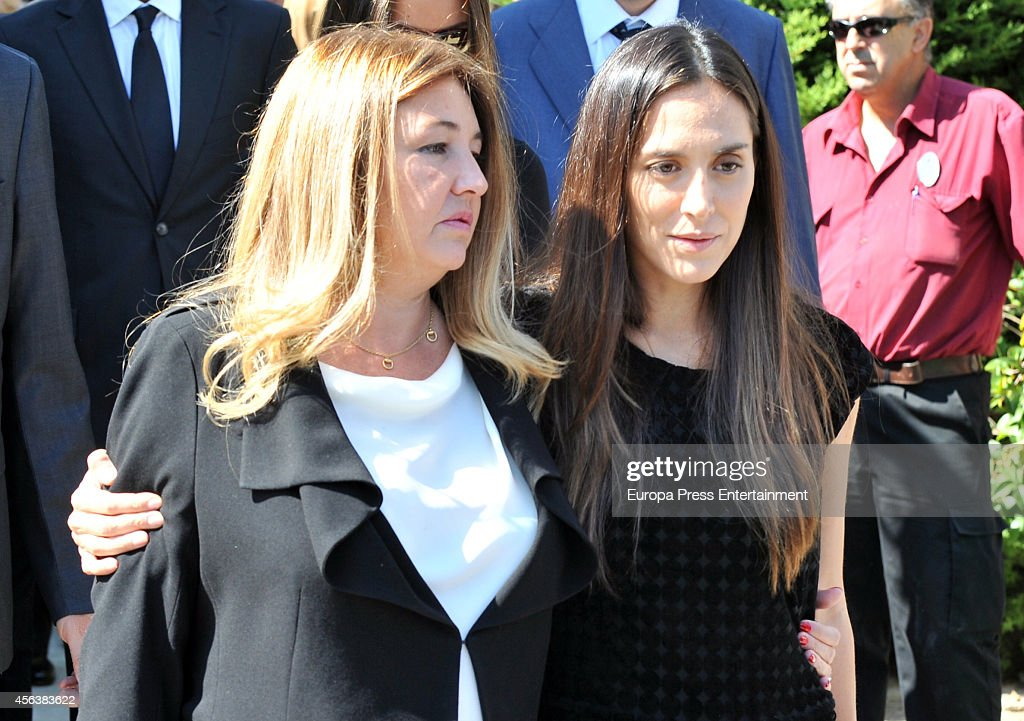 Tamara Falco and Laura Boyer attend the funeral for Miguel Boyer at San Isidro Graveyard on September 30 2014 in Madrid Spain Spanish politician...
