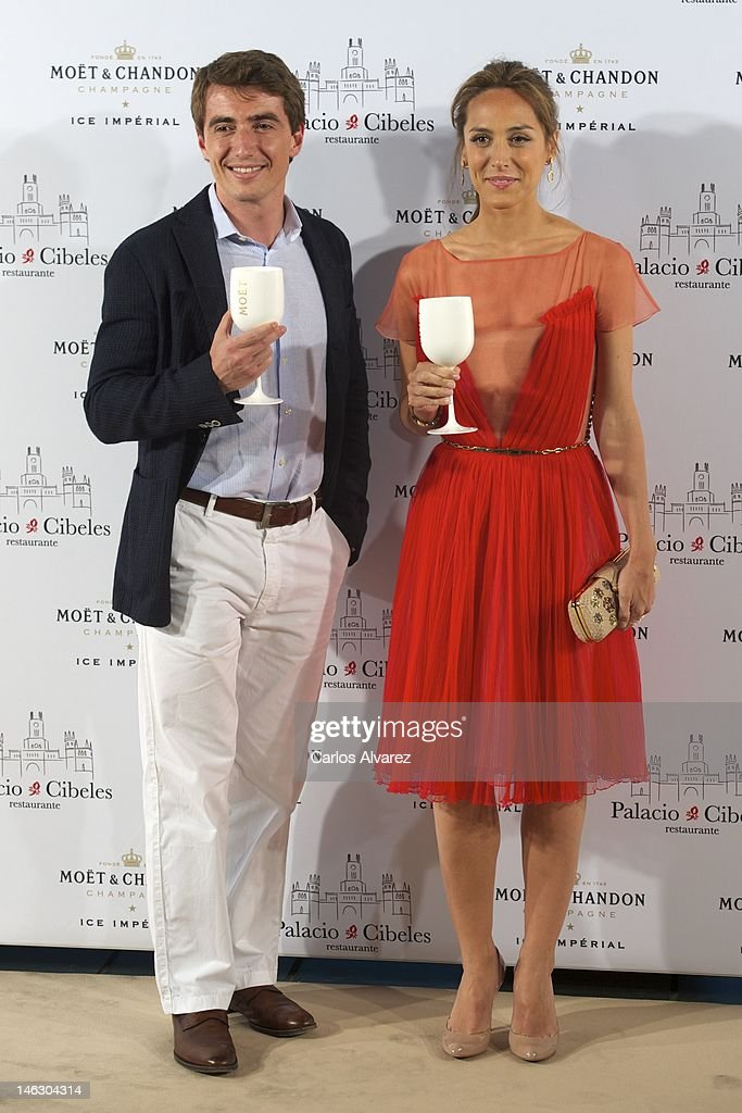 Tamara Falco and Moet Chandon Spain Director Niccolo Ragazzoni attend 'Moet Ice Imperial' party at Palacio de Cibeles on June 13 2012 in Madrid Spain
