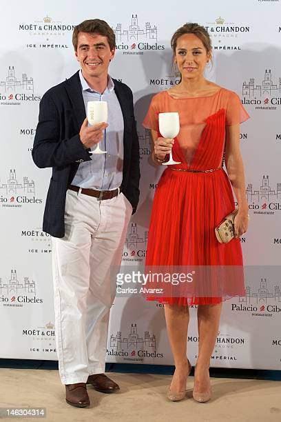 Tamara Falco and Moet Chandon Spain Director Niccolo Ragazzoni attend 'Moet Ice Imperial' party at Palacio de Cibeles on June 13 2012 in Madrid Spain