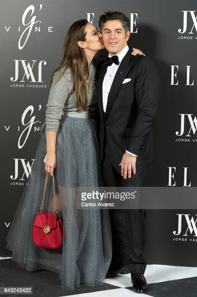 Tamara Falco and Spanish designer Jorge Vazquez attend Elle Jorge Vazquez party at the Principe Pio Theater on February 20 2017 in Madrid Spain