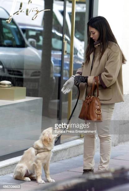 Tamara Falco is seen walking her dog on April 22 2014 in Madrid Spain