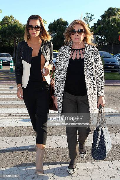 Tamara Gorro and Mila Ximenez visit the chapel of rest for Mario Biondo at Tanatorio Parcesa on May 31 2013 in Madrid Spain Spanish television...
