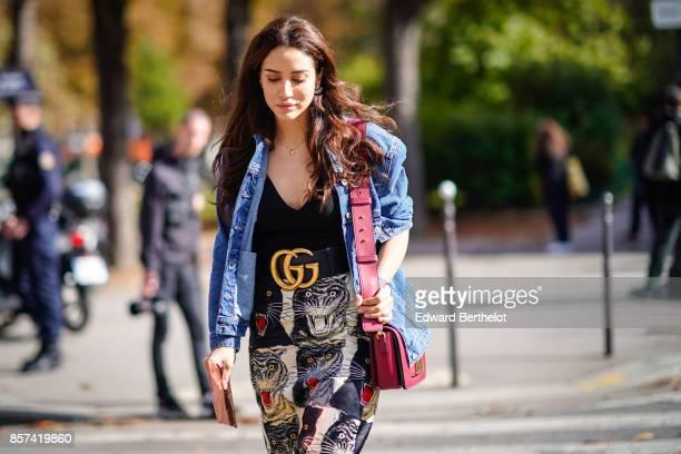 Tamara Kalinic outside Moncler during Paris Fashion Week Womenswear Spring/Summer 2018 on October 3 2017 in Paris France