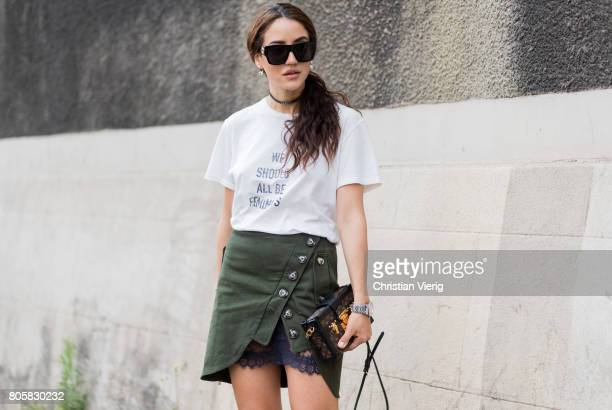 Tamara Kalinic wearing a Dior tshirt olive skirt outside Rodarte during Paris Fashion Week Haute Couture Fall/Winter 20172018 Day One on July 2 2017...