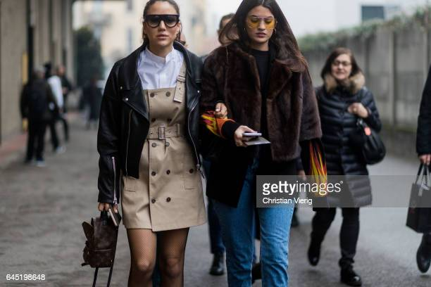 Tamara Kalinic wearing overall Louis Vuitton mini backpack outside Diesel during Milan Fashion Week Fall/Winter 2017/18 on February 24 2017 in Milan...
