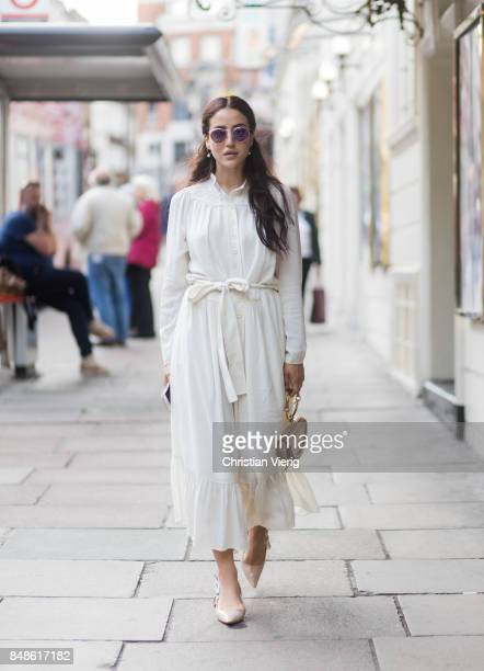 Tamara Kilic wearing white dress Chloe bag outside Peter Pilotto during London Fashion Week September 2017 on September 17 2017 in London England