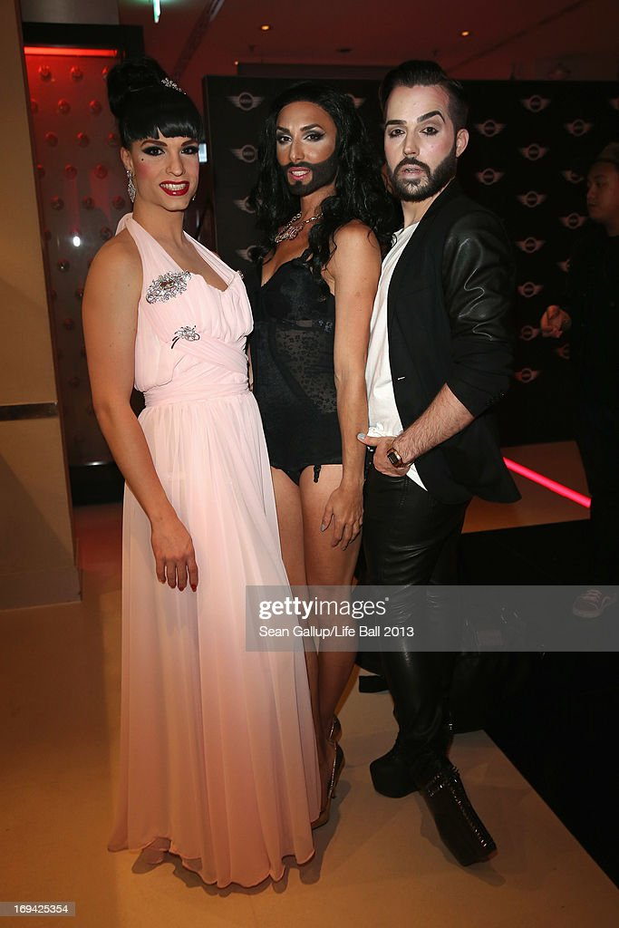 Tamara Mascara, <a gi-track='captionPersonalityLinkClicked' href=/galleries/search?phrase=Conchita+Wurst&family=editorial&specificpeople=9407349 ng-click='$event.stopPropagation()'>Conchita Wurst</a> and Jacques Patriaque attend the 'Life Ball 2013 - Welcome Cocktail' at Le Meridien Hotel on May 24, 2013 in Vienna, Austria.
