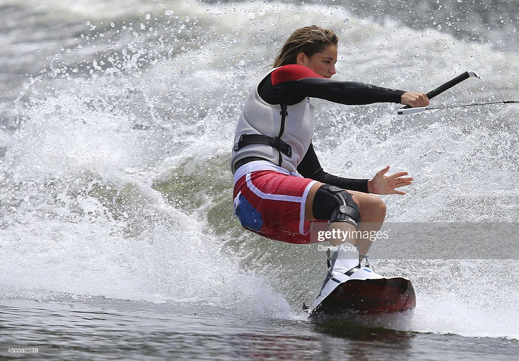 Tamara Mustafa of Peru during the Water Skiing Wakeboard Ladies Final event as part of the XVII Bolivarian Games Trujillo 2013 at Laguna de Bujama on November 18, 2013 in Lima, Peru.