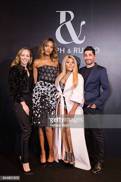 Tamara Ralph Jourdan Dunn Lil Kim and Michael Russo pose Backstage after the Ralph Russo Haute Couture Fall/Winter 20162017 show as part of Paris...