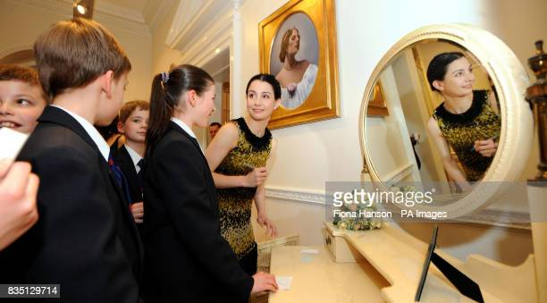 Tamara Rojo the current Principal Dancer with The Royal Ballet signs autographs with young Royal Ballet School pupils at White Lodge where earlier...