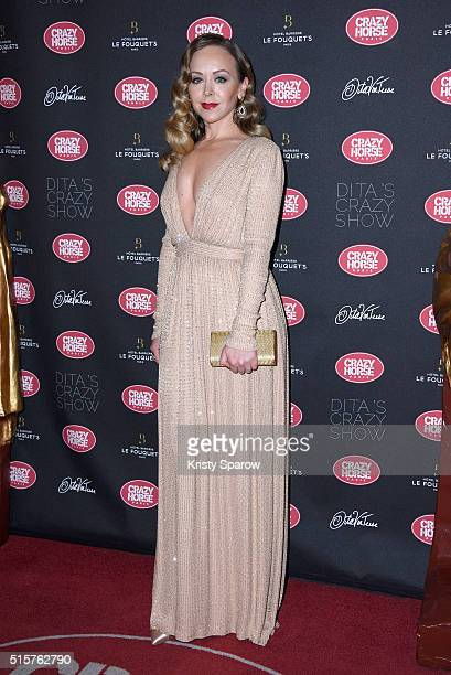 Tamara Russo attends the 'Dita Von Teese's Crazy Show' opening night photocall at Le Crazy Horse on March 15 2016 in Paris France