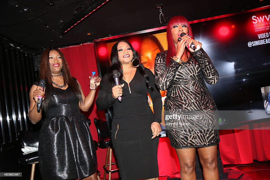 Tamara 'Taj' George, Leanne 'Lelee' Lyons and Cheryl 'Coko' Clemons of <a gi-track='captionPersonalityLinkClicked' href=/galleries/search?phrase=SWV+-+Band&family=editorial&specificpeople=4305646 ng-click='$event.stopPropagation()'>SWV</a> attend the '<a gi-track='captionPersonalityLinkClicked' href=/galleries/search?phrase=SWV+-+Band&family=editorial&specificpeople=4305646 ng-click='$event.stopPropagation()'>SWV</a> Reunited' series premiere at Jazz Room at the General on January 15, 2014 in New York City.