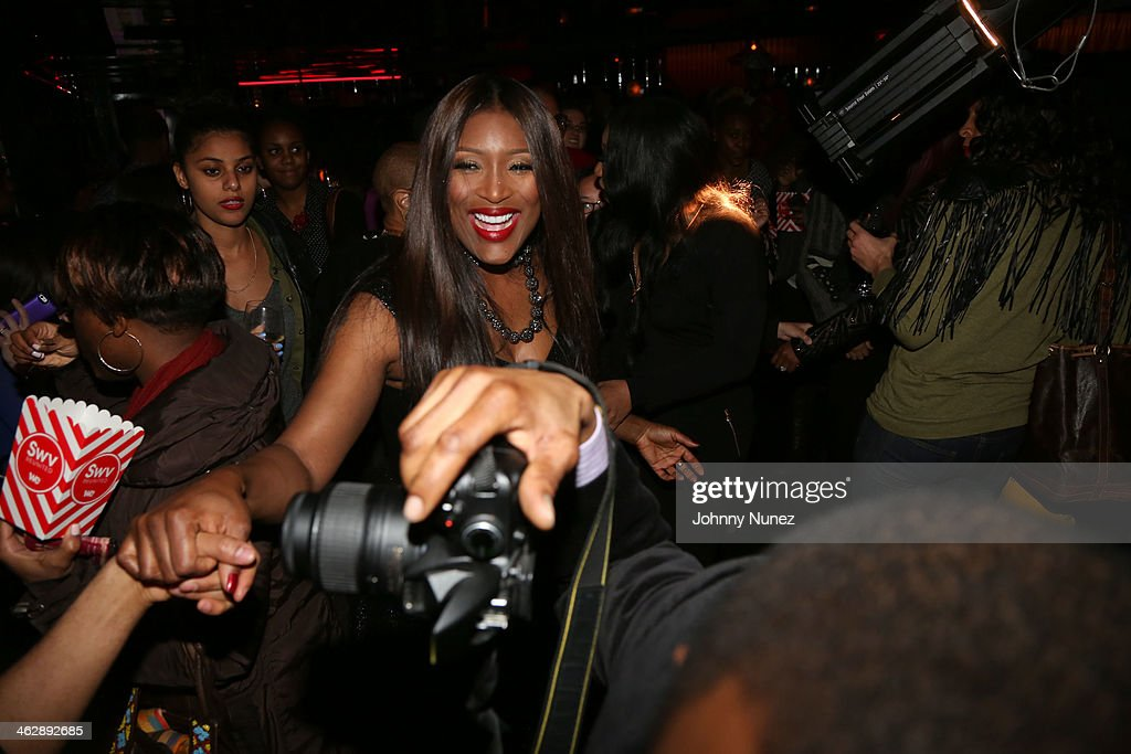 Tamara 'Taj' George of <a gi-track='captionPersonalityLinkClicked' href=/galleries/search?phrase=SWV+-+Band&family=editorial&specificpeople=4305646 ng-click='$event.stopPropagation()'>SWV</a> attends the '<a gi-track='captionPersonalityLinkClicked' href=/galleries/search?phrase=SWV+-+Band&family=editorial&specificpeople=4305646 ng-click='$event.stopPropagation()'>SWV</a> Reunited' series premiere at Jazz Room at the General on January 15, 2014 in New York City.