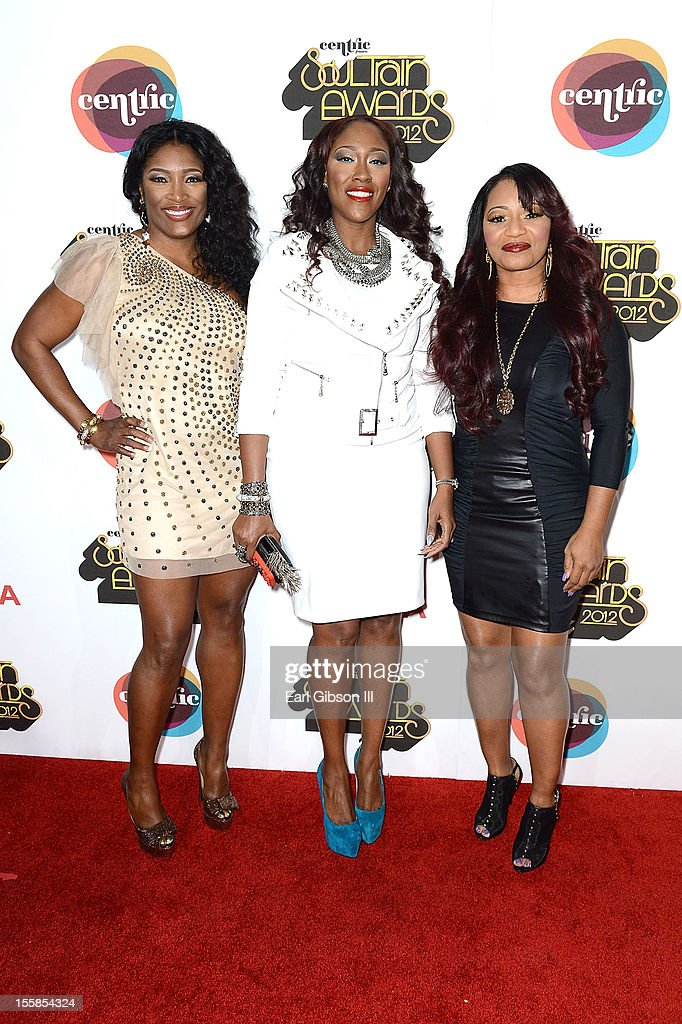 Tamara 'Taj' Johnson-George, Cheryl 'Coko' Clemons and Leanne 'Lelee' Lyons of the R&B group SWVarrives at the Soul Train Awards 2012 at PH Live at Planet Hollywood Resort & Casino on November 8, 2012 in Las Vegas, Nevada.
