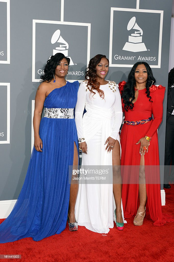 Tamara 'Taj' Johnson-George, Cheryl 'Coko' Clemons and Leanne 'Lelee' Lyons of the R&B group SWV arrives at the 55th Annual GRAMMY Awards at Staples Center on February 10, 2013 in Los Angeles, California.