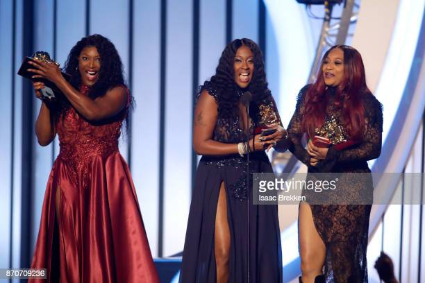 Tamara 'Taj' JohnsonGeorge Cheryl 'Coko' Clemons and Leanne 'Lelee' Lyons of SWV accept the Lady of Soul Award onstage at the 2017 Soul Train Awards...
