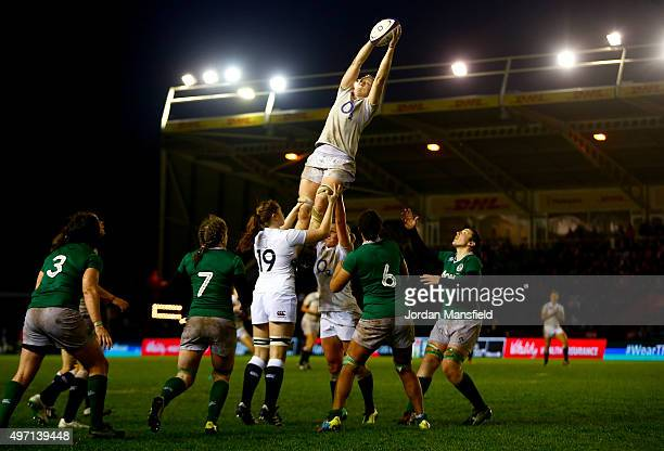 Tamara Taylor of England catches a lineout during the Women's International match between England v Ireland at Twickenham Stoop on November 14 2015...