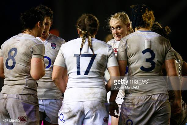 Tamara Taylor of England talks to her team mates during the Women's International match between England v Ireland at Twickenham Stoop on November 14...