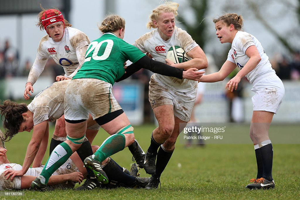 <a gi-track='captionPersonalityLinkClicked' href=/galleries/search?phrase=Tamara+Taylor+-+Rugby+Player&family=editorial&specificpeople=15376664 ng-click='$event.stopPropagation()'>Tamara Taylor</a> of England Women in action during the Womens Six Nations match between Ireland and England and Scotland at Ashbourne RFC on February 9, 2013 in Ashbourne, Ireland.