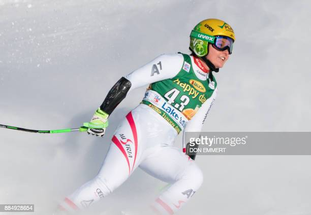 Tamara Tippler of Austria slides into the finish area in 11th place during the FIS Ski World Cup Women's Super G on December 3 2017 in Lake Louise...