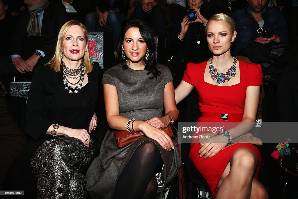 Tamara von Nayhauss, Minu Barati-Fischer and Franziska Knuppe attend Miranda Konstantinidou Autumn/Winter 2013/14 fashion show during Mercedes-Benz Fashion Week Berlin at Brandenburg Gate on January 18, 2013 in Berlin, Germany.