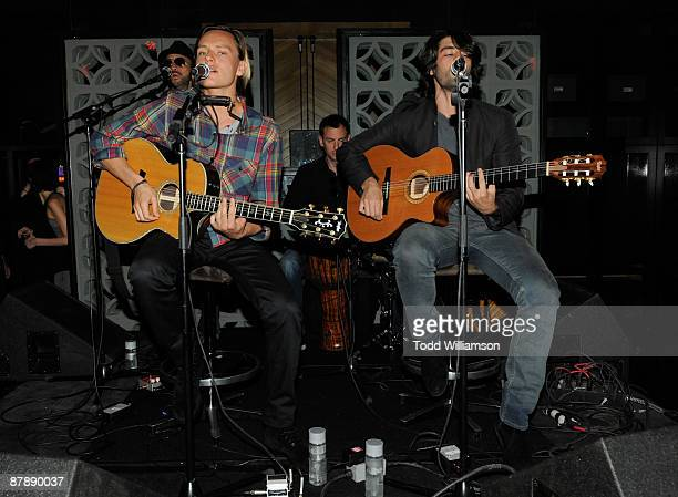 Tamarama's Nicholas Potts and Jay Lyon attend the celebration of 'The Flipside' by Havaianas and DETAILS Magazine at MyHouse on May 20 2009 in...