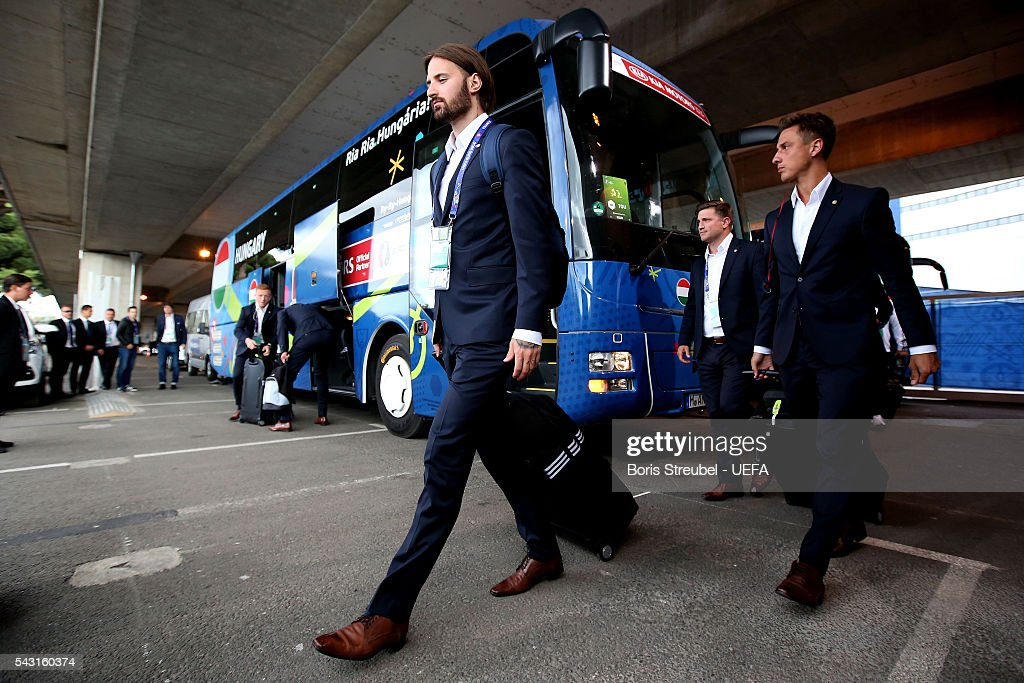 Tamas Kadar of Hungary is seen on arrival at the stadium prior to the UEFA EURO 2016 round of 16 match bewtween Hungary and Belgium at Stadium Municipal on June 26, 2016 in Toulouse, France.
