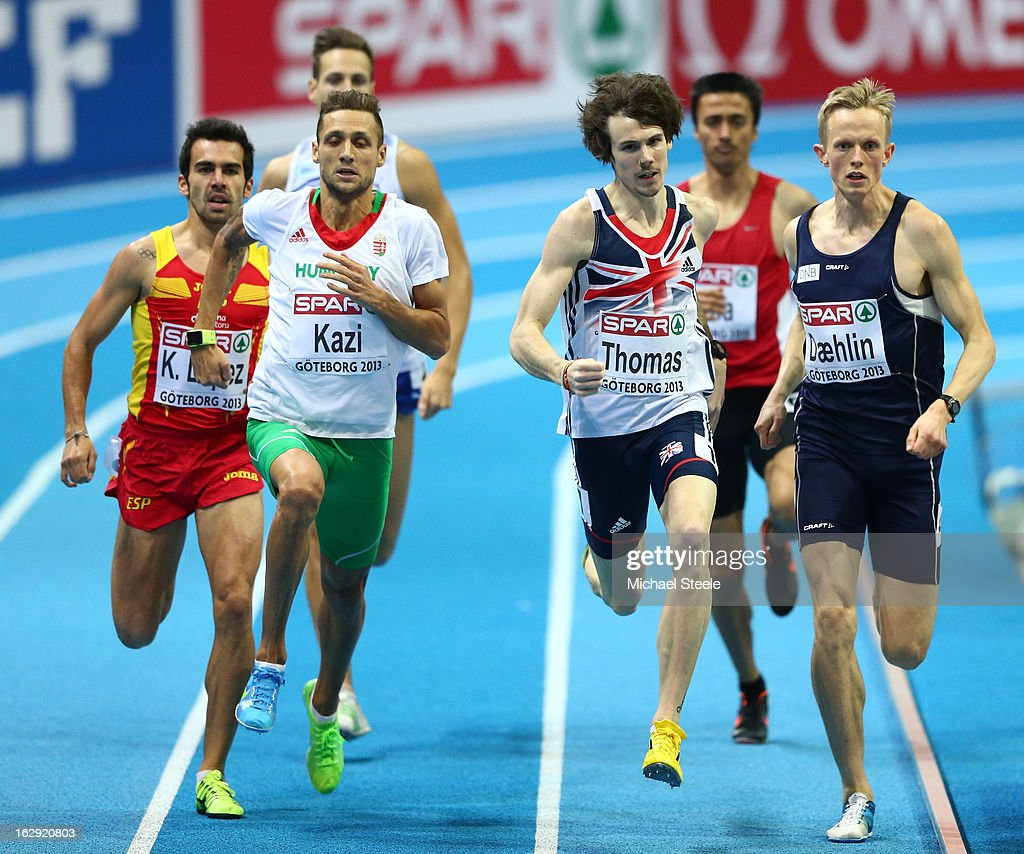 Tamas Kazi of Hungary, Joe Thomas of Great Britain and Northern Ireland and Adne Svahn Daehlin of Norway compete in the Men's 800m heats during day one of the European Athletics Indoor Championships at Scandinavium on March 1, 2013 in Gothenburg, Sweden.