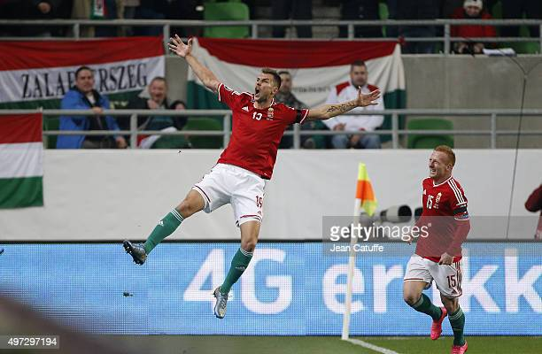 Tamas Priskin of Hungary celebrates scoring a goal for his team during the UEFA EURO 2016 qualifier playoff second leg match between Hungary and...