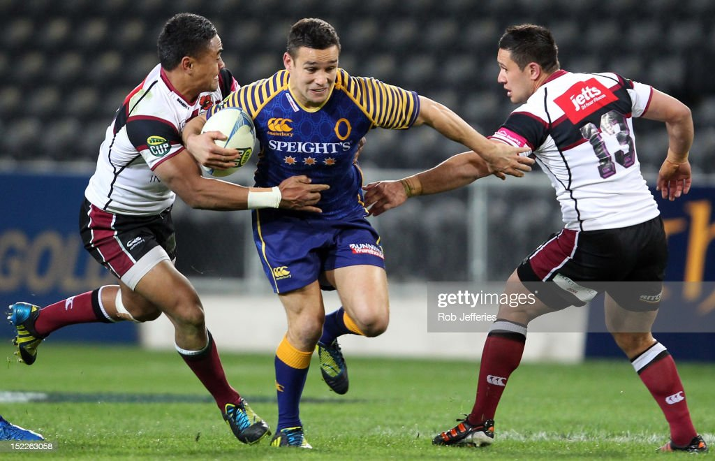 <a gi-track='captionPersonalityLinkClicked' href=/galleries/search?phrase=Tamati+Ellison&family=editorial&specificpeople=577122 ng-click='$event.stopPropagation()'>Tamati Ellison</a> of Otago on the charge during the round eight ITM Cup match between Otago and North Harbour at Forsyth Barr Stadium on September 18, 2012 in Dunedin, New Zealand.