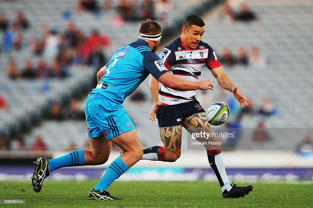 Tamati Ellison of the Rebels kicks the ball through during the Super Rugby round ten match between the Blues and the Melbourne Rebels at Eden Park on April 30, 2016 in Auckland, New Zealand.