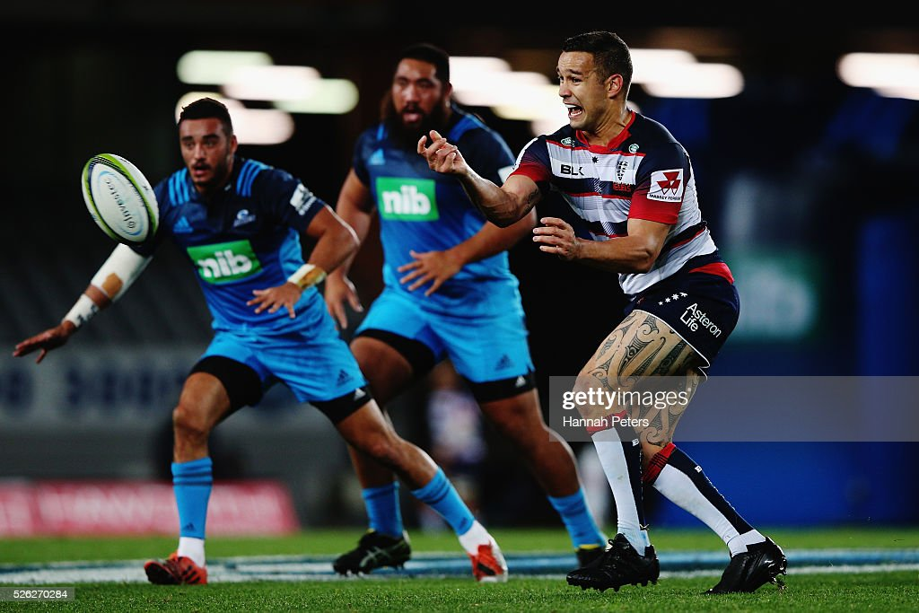 <a gi-track='captionPersonalityLinkClicked' href=/galleries/search?phrase=Tamati+Ellison&family=editorial&specificpeople=577122 ng-click='$event.stopPropagation()'>Tamati Ellison</a> of the Rebels passes the ball out during the Super Rugby round ten match between the Blues and the Melbourne Rebels at Eden Park on April 30, 2016 in Auckland, New Zealand.