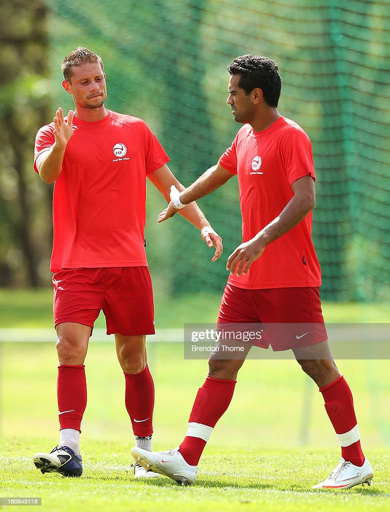Tamatoa Wagemann and Nicolas Vallar of Tahiti speak during the friendly match between Sydney FC and Tahiti at Macquarie Uni on February 6, 2013 in Sydney, Australia.