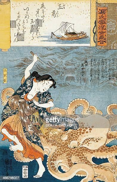 Tamatori being attacked by an octopus while grabbing the sacred jewel 18451846 ukiyoe art print by Utagawa Kuniyoshi from Genji kumo ukiyoe awase No...