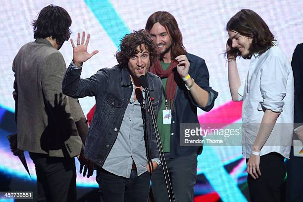 Tame Impala accept the ARIA for Best Group during the 27th Annual ARIA Awards 2013 at the Star on December 1 2013 in Sydney Australia