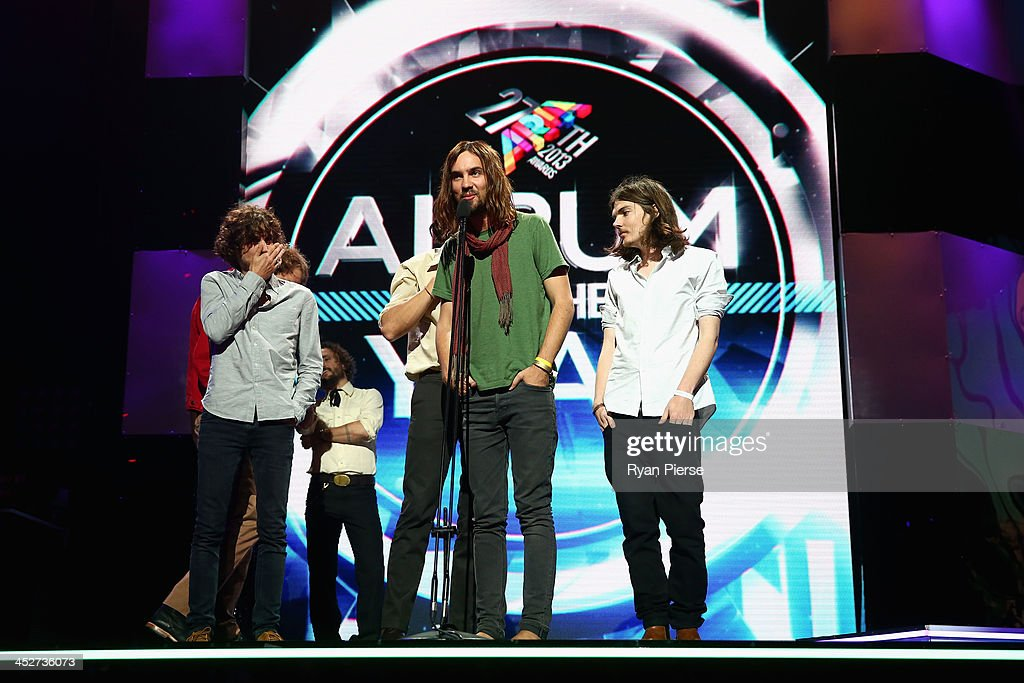 Tame Impala accept the award for 'Album of the Year' during the 27th Annual ARIA Awards 2013 at the Star on December 1 2013 in Sydney Australia