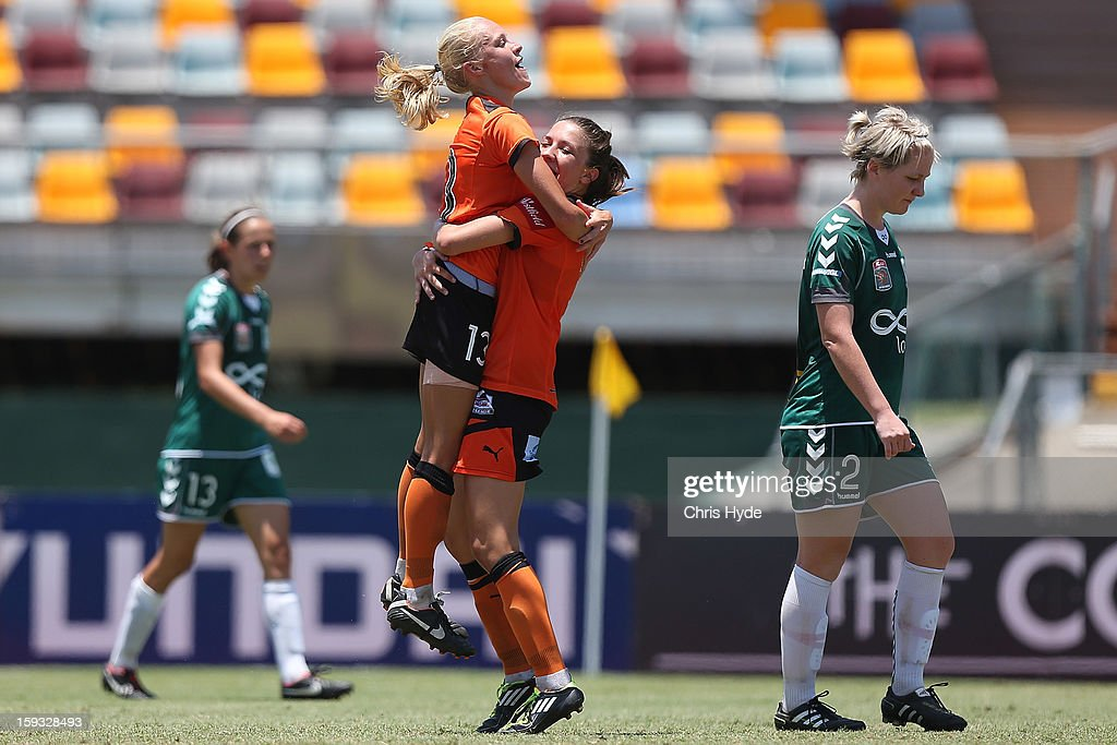 Tameka Butt of the Roar celebrates a goal during the round 12 W-League match between the Brisbane Roar and Canberra United at Queensland Sport and Athletics Centre on January 12, 2013 in Brisbane, Australia.