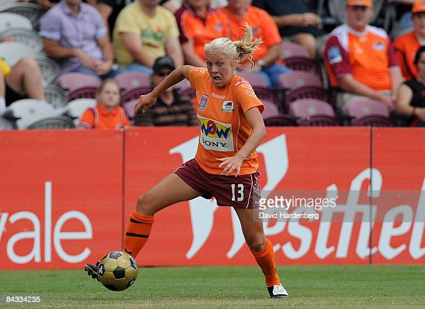 Tameka Butt of the Roar controls the ball during the WLeague 2009 Grand Final match between the Queensland Roar and Canberra United at Ballymore...