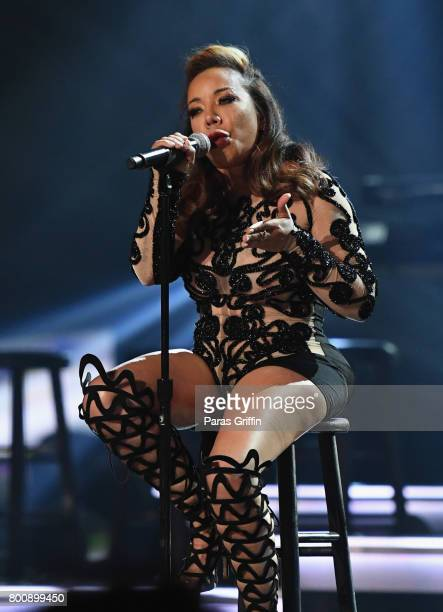 Tameka Cottle of Xscape performs onstage at 2017 BET Awards at Microsoft Theater on June 25 2017 in Los Angeles California