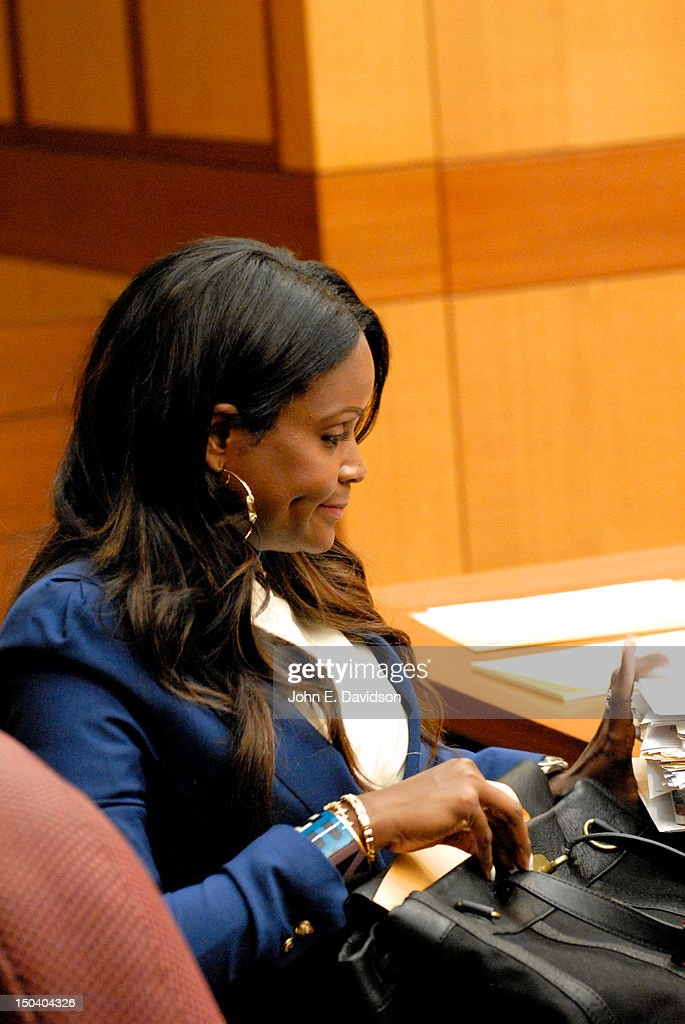Tameka Foster attends a hearing to discuss child custody with her ex-husband Usher Raymond at Fulton County State Court on August 16, 2012 in Atlanta, Georgia. Usher and Tameka, who officially divorced in 2009, are fighting over custody of their two young sons. The judge heard closing arguments today.