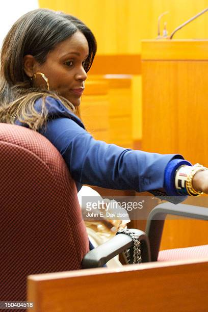 Tameka Foster attends a hearing to discuss child custody with her exhusband Usher Raymond at Fulton County State Court on August 16 2012 in Atlanta...