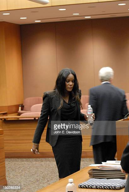 Tameka Foster leaving the witness stand during a hearing to discuss child custody with her exhusband Usher Raymond at Fulton County State Court on...