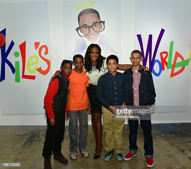 Tameka Foster with her son's friends attend the birthday and foundation lanuch Kile's World to honor Kile Glover at the Woodruff Arts Center on March...