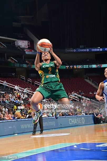 Tameka Johnson of the Seattle Storm goes to the basket against the New York Liberty during the game on July 9 2013 at Prudential Center in Newark New...