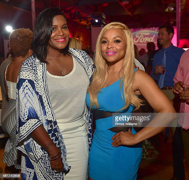 Tameka Raymond and Gocha Hawkins attend First Take With Ford at The Georgia Freight Room on July 17 2015 in Atlanta Georgia
