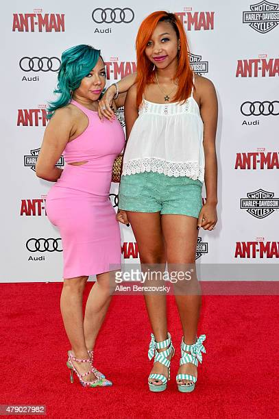 Tameka 'Tiny' CottleHarris and Zonnique Pullins arrive at the Los Angeles Premiere of Marvel Studios 'AntMan' at Dolby Theatre on June 29 2015 in...