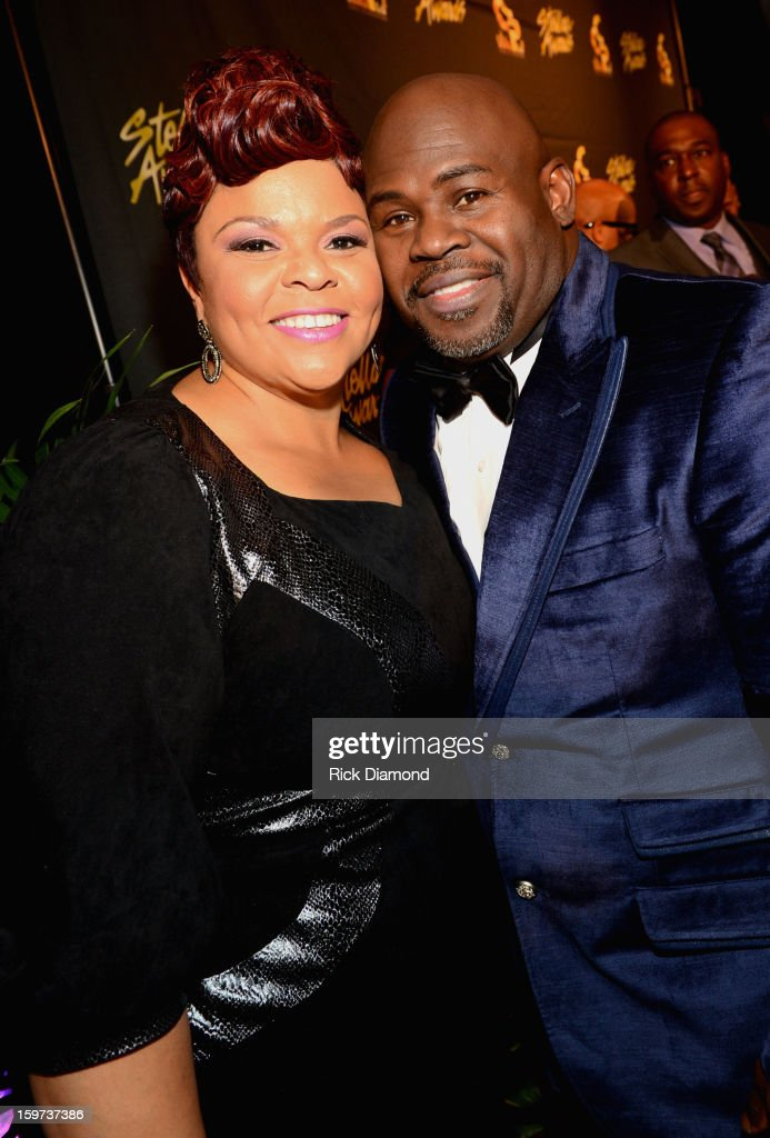 Tamela Mann and David Mann arrive at the 28th Annual Stellar Awards at Grand Ole Opry House on January 19, 2013 in Nashville, Tennessee.