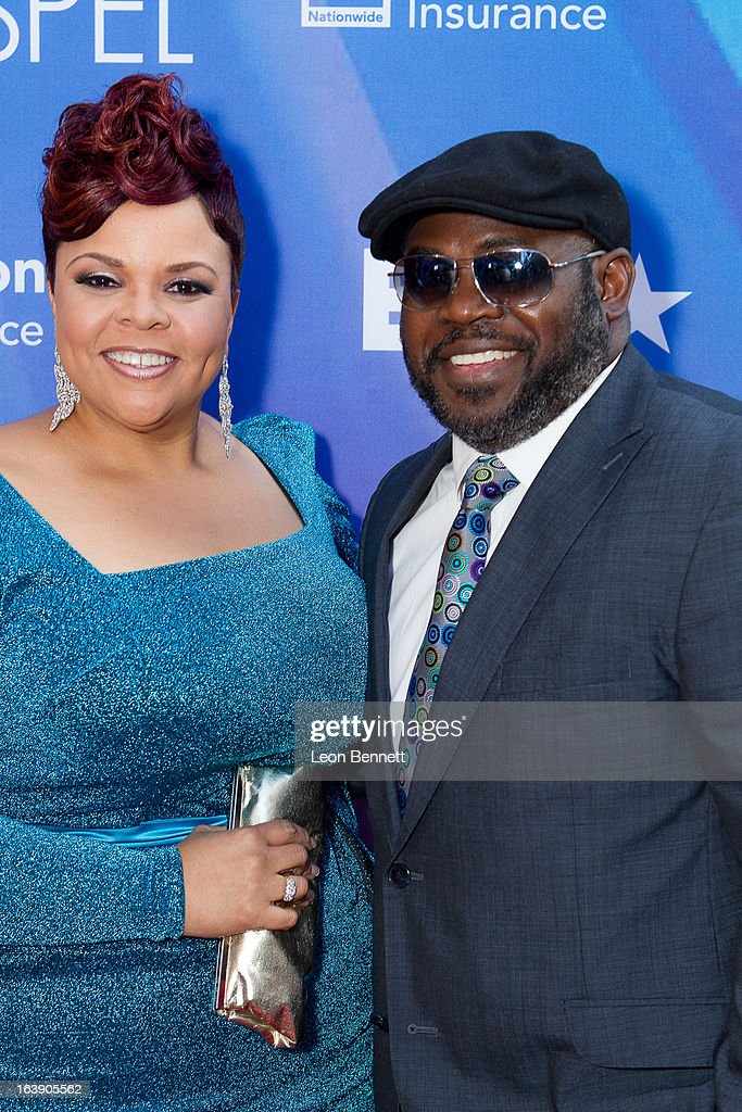 Tamela Mann and David Mann arrives at the BET Network's 13th Annual 'Celebration of Gospel' at Orpheum Theatre on March 16, 2013 in Los Angeles, California.